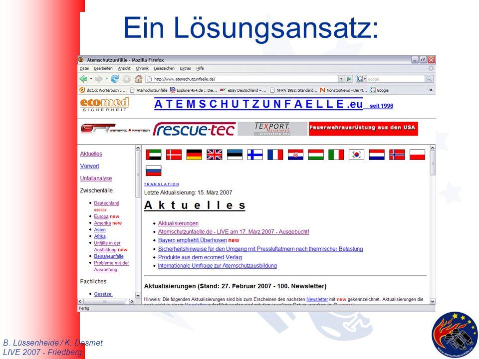B. Lüssenheide / K. Desmet LIVE 2007 - Friedberg Ein Lösungsansatz: