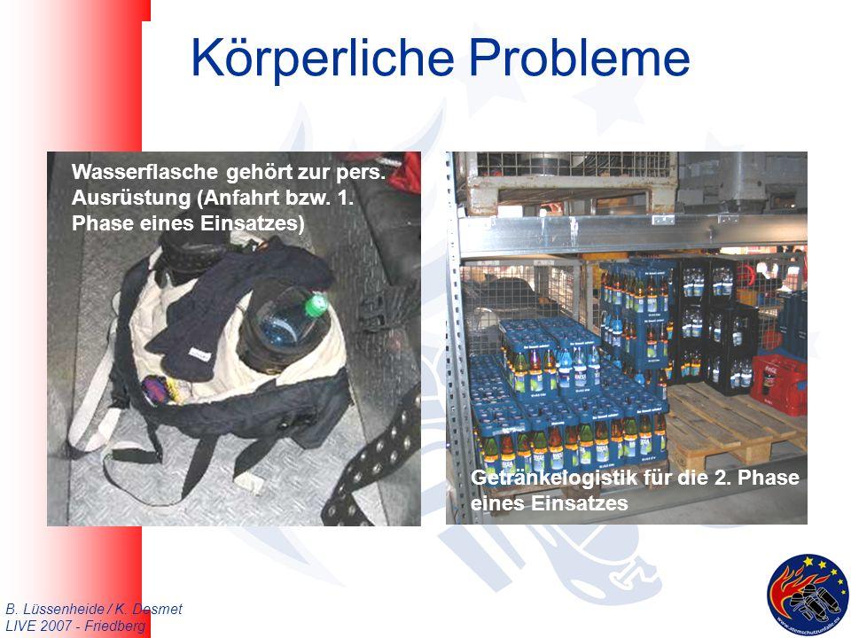 B. Lüssenheide / K. Desmet LIVE 2007 - Friedberg Körperliche Probleme Getränkelogistik für die 2.
