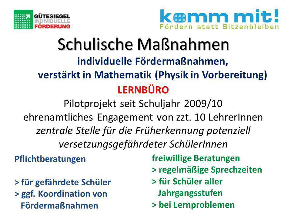 Schulische Maßnahmen individuelle Fördermaßnahmen, verstärkt in Mathematik (Physik in Vorbereitung) LERNBÜRO Pilotprojekt seit Schuljahr 2009/10 ehrenamtliches Engagement von zzt.
