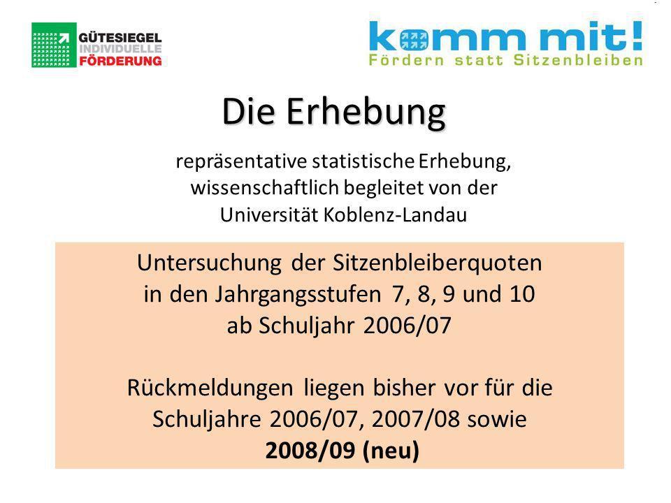 repräsentative statistische Erhebung, wissenschaftlich begleitet von der Universität Koblenz-Landau Untersuchung der Sitzenbleiberquoten in den Jahrgangsstufen 7, 8, 9 und 10 ab Schuljahr 2006/07 Rückmeldungen liegen bisher vor für die Schuljahre 2006/07, 2007/08 sowie 2008/09 (neu) Die Erhebung