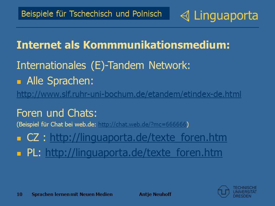 10 Sprachen lernen mit Neuen Medien Antje Neuhoff Linguaporta Beispiele für Tschechisch und Polnisch Internet als Kommmunikationsmedium: International
