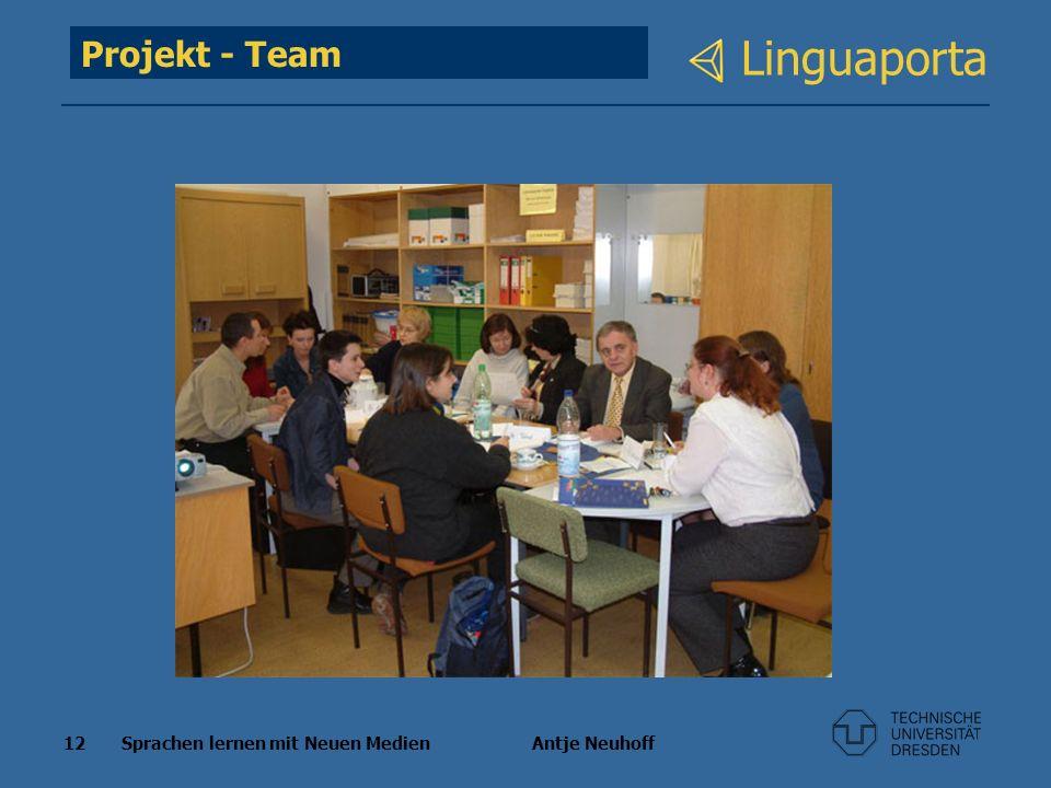 12 Sprachen lernen mit Neuen Medien Antje Neuhoff Linguaporta Projekt - Team