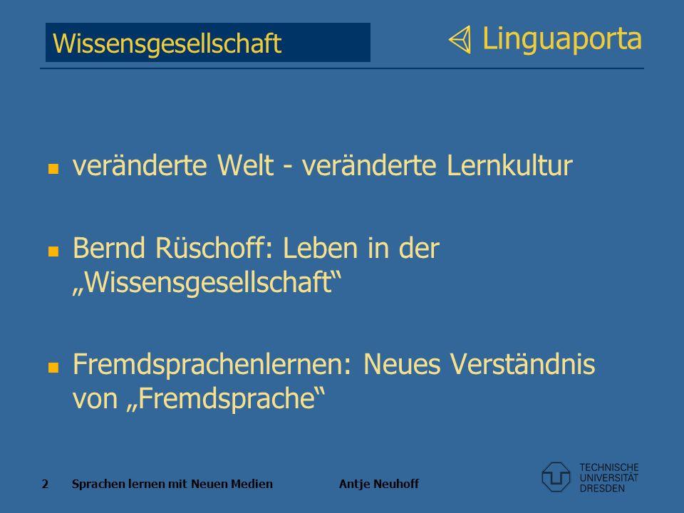 2 Sprachen lernen mit Neuen Medien Antje Neuhoff Linguaporta veränderte Welt - veränderte Lernkultur Bernd Rüschoff: Leben in der Wissensgesellschaft