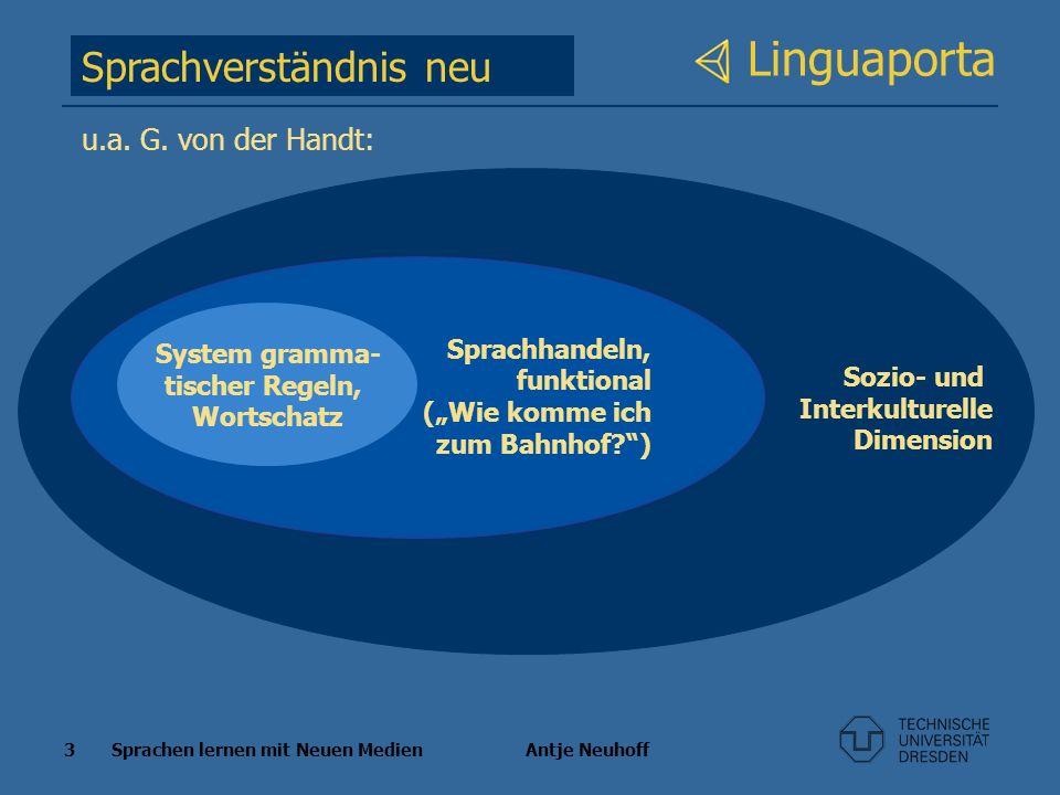 3 Sprachen lernen mit Neuen Medien Antje Neuhoff Linguaporta Sprachverständnis neu Sozio- und Interkulturelle Dimension Sprachhandeln, funktional (Wie