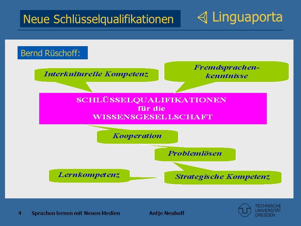 4 Sprachen lernen mit Neuen Medien Antje Neuhoff Linguaporta Neue Schlüsselqualifikationen Bernd Rüschoff:
