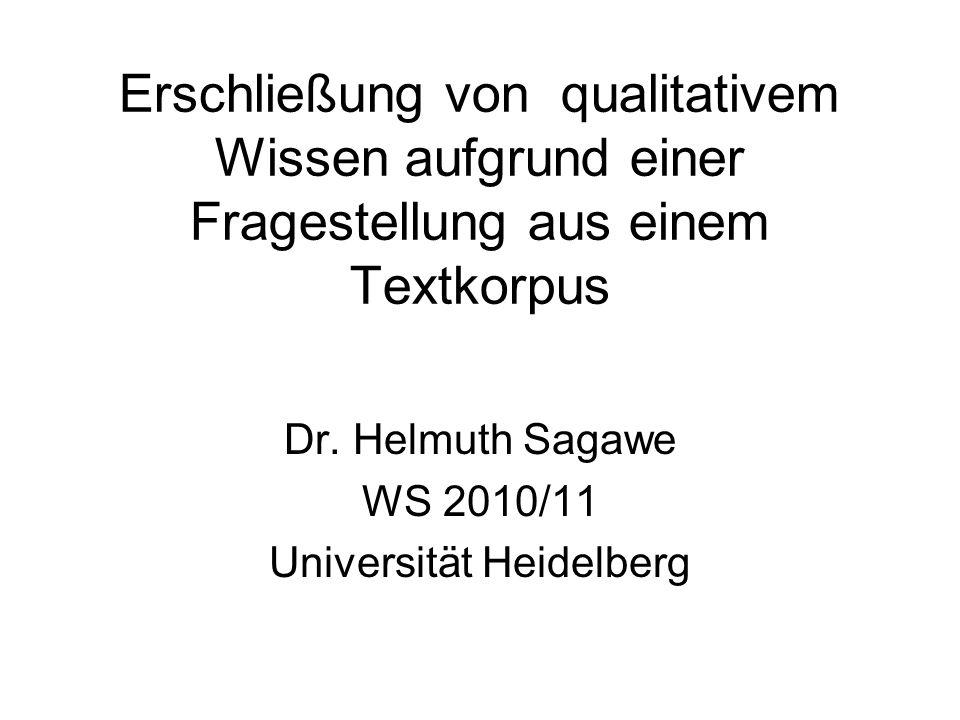 Erschließung von qualitativem Wissen aufgrund einer Fragestellung aus einem Textkorpus Dr. Helmuth Sagawe WS 2010/11 Universität Heidelberg
