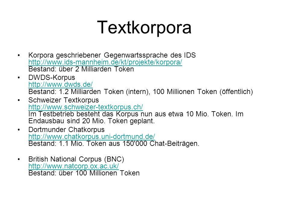Textkorpora Korpora geschriebener Gegenwartssprache des IDS http://www.ids-mannheim.de/kt/projekte/korpora/ Bestand: über 2 Milliarden Token http://ww