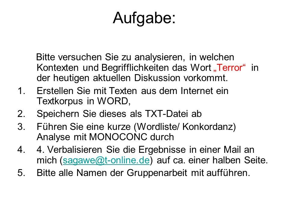 Aufgabe: Bitte versuchen Sie zu analysieren, in welchen Kontexten und Begrifflichkeiten das Wort Terror in der heutigen aktuellen Diskussion vorkommt.