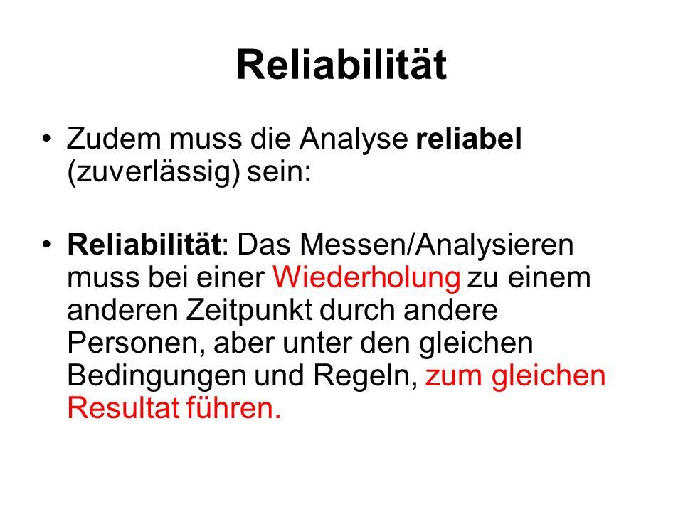Reliabilität Zudem muss die Analyse reliabel (zuverlässig) sein: Reliabilität: Das Messen/Analysieren muss bei einer Wiederholung zu einem anderen Zei