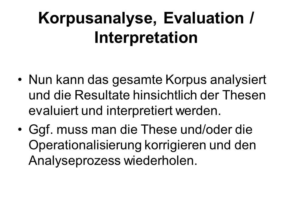 Korpusanalyse, Evaluation / Interpretation Nun kann das gesamte Korpus analysiert und die Resultate hinsichtlich der Thesen evaluiert und interpretier