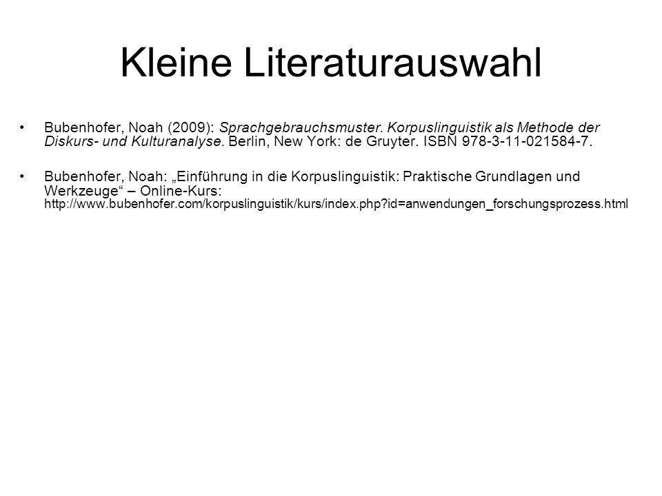Kleine Literaturauswahl Bubenhofer, Noah (2009): Sprachgebrauchsmuster. Korpuslinguistik als Methode der Diskurs- und Kulturanalyse. Berlin, New York: