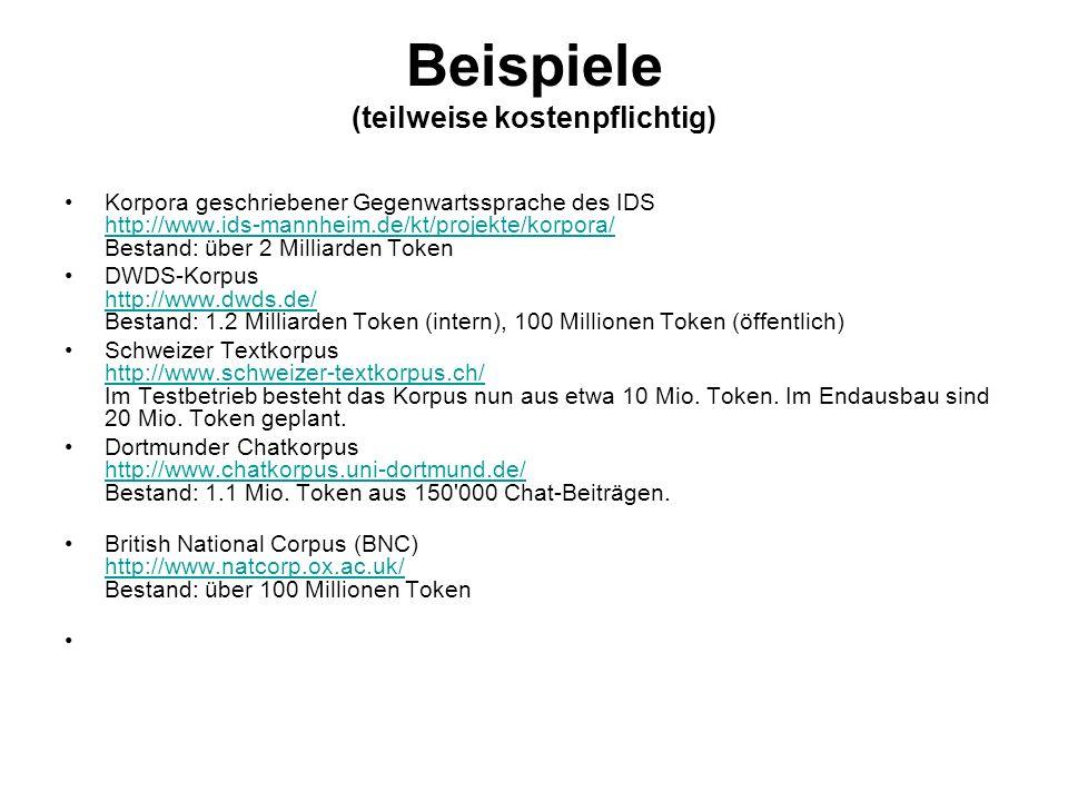 Beispiele (teilweise kostenpflichtig) Korpora geschriebener Gegenwartssprache des IDS http://www.ids-mannheim.de/kt/projekte/korpora/ Bestand: über 2