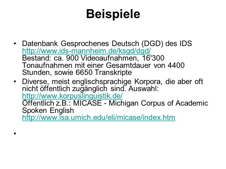 Beispiele Datenbank Gesprochenes Deutsch (DGD) des IDS http://www.ids-mannheim.de/ksgd/dgd/ Bestand: ca. 900 Videoaufnahmen, 16'300 Tonaufnahmen mit e
