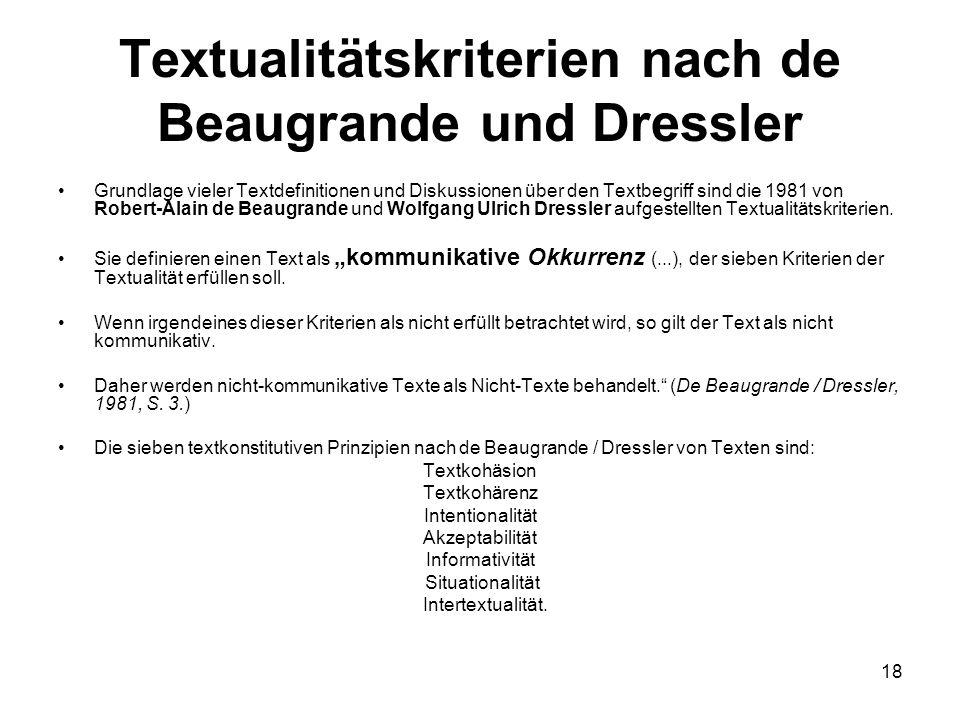 18 Textualitätskriterien nach de Beaugrande und Dressler Grundlage vieler Textdefinitionen und Diskussionen über den Textbegriff sind die 1981 von Rob