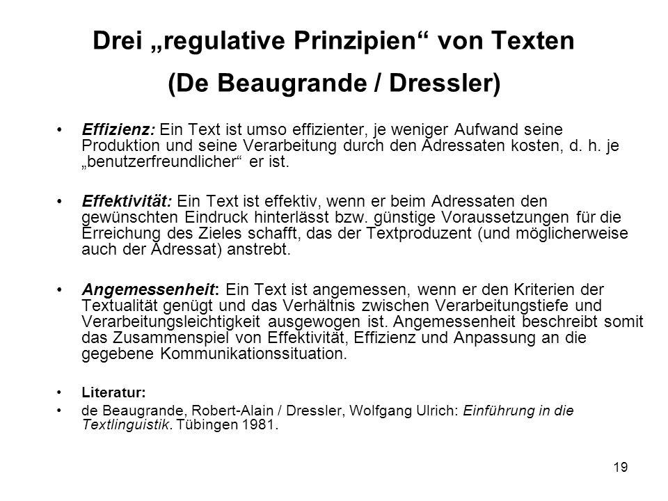 19 Drei regulative Prinzipien von Texten (De Beaugrande / Dressler) Effizienz: Ein Text ist umso effizienter, je weniger Aufwand seine Produktion und