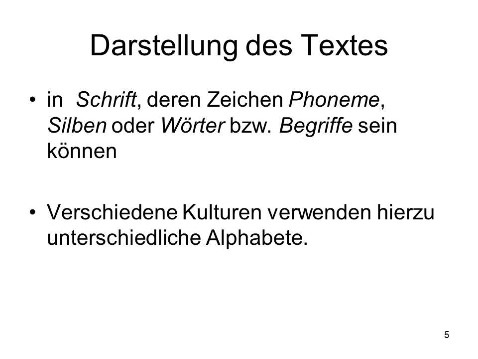 5 Darstellung des Textes in Schrift, deren Zeichen Phoneme, Silben oder Wörter bzw. Begriffe sein können Verschiedene Kulturen verwenden hierzu unters