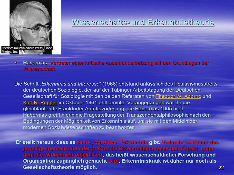 22 Wissenschafts- und Erkenntnistheorie Habermas: Vertreter einer kritische Auseinandersetzung mit den Grundlagen der Wissenschaft Habermas: Vertreter
