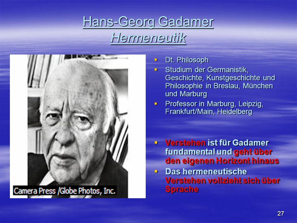 27 Hans-Georg Gadamer Hermeneutik Dt. Philosoph Dt. Philosoph Studium der Germanistik, Geschichte, Kunstgeschichte und Philosophie in Breslau, München