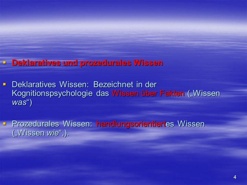 4 Deklaratives und prozedurales Wissen Deklaratives und prozedurales Wissen Deklaratives Wissen: Bezeichnet in der Kognitionspsychologie das Wissen üb