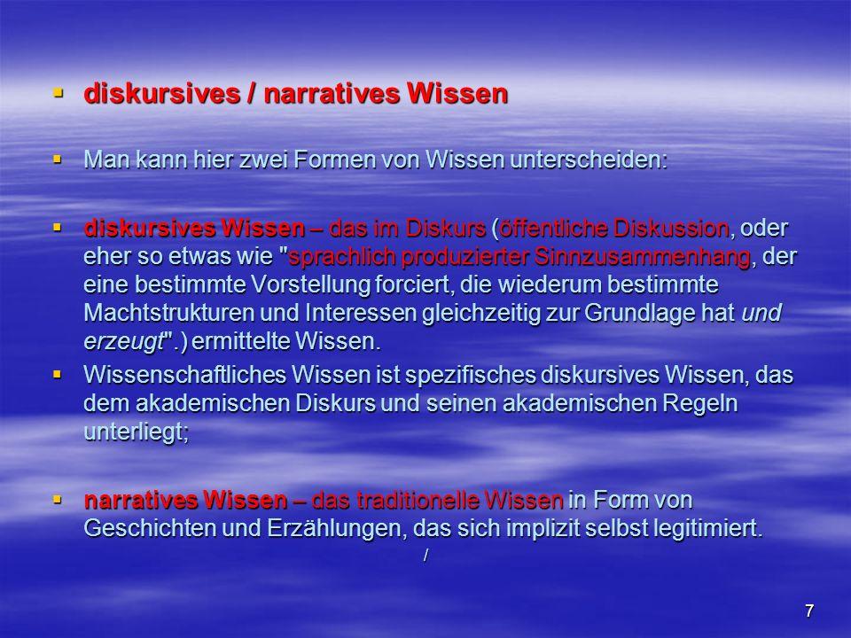 7 diskursives / narratives Wissen diskursives / narratives Wissen Man kann hier zwei Formen von Wissen unterscheiden: Man kann hier zwei Formen von Wi