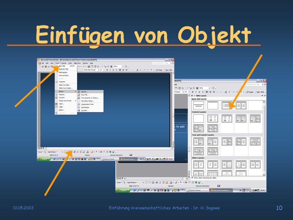 19.05.2003Einführung in wissenschaftliches Arbeiten - Dr. H. Sagawe 9 Einfügen von Objekten Texte Bilder Multimedia ( Video & Sound ) Diagramme, Tabel