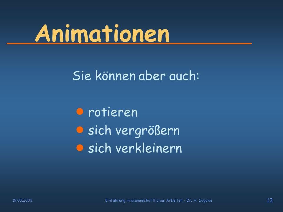 19.05.2003Einführung in wissenschaftliches Arbeiten - Dr. H. Sagawe 12 Animationen Texte und Objekte können: sich ausdehnen einfliegen wirbeln