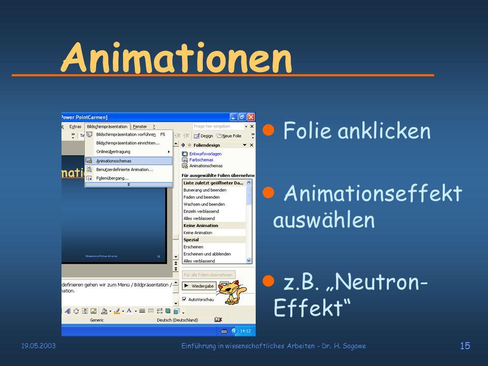 19.05.2003Einführung in wissenschaftliches Arbeiten - Dr. H. Sagawe 14 Animationen …Oder auf verschiedene Weisen verschwinden: sich blenden hinaus fli