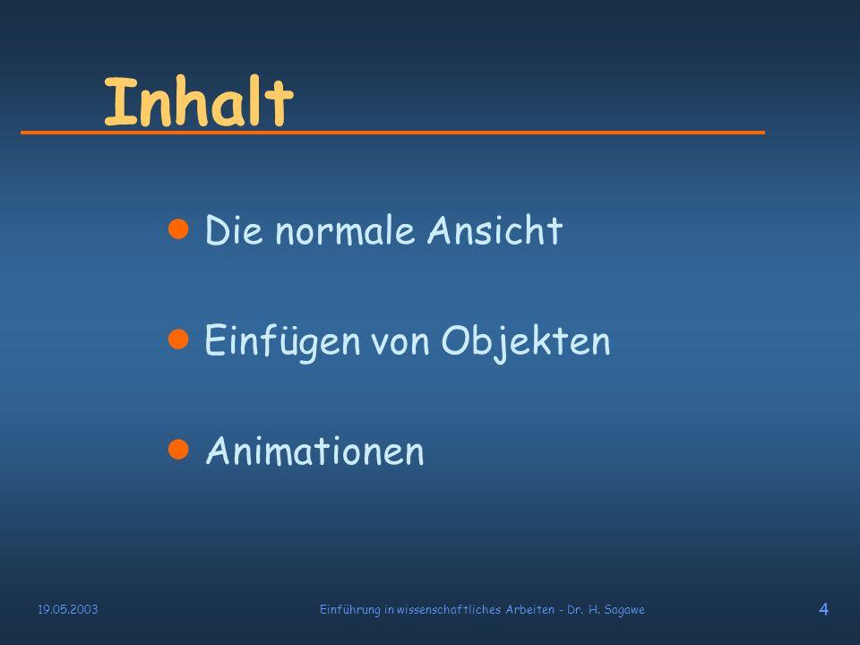 19.05.2003Einführung in wissenschaftliches Arbeiten - Dr. H. Sagawe 3 Inhalt PowerPoint starten Der Auto-Assistent
