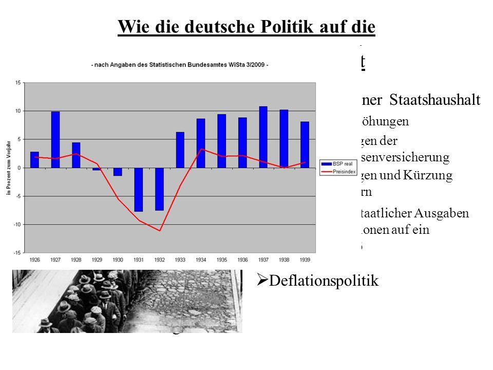ausgeglichener Staatshaushalt Steuererhöhungen Änderungen der Arbeitslosenversicherung Wie die deutsche Politik auf die Weltwirtschaftskrise reagiert