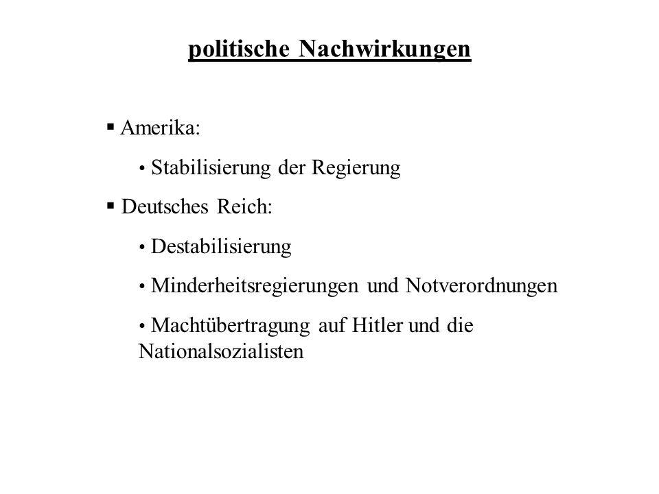politische Nachwirkungen Amerika: Stabilisierung der Regierung Deutsches Reich: Destabilisierung Minderheitsregierungen und Notverordnungen Machtübert