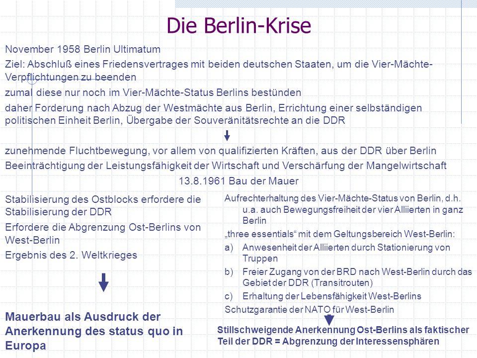 Die Berlin-Krise November 1958 Berlin Ultimatum Ziel: Abschluß eines Friedensvertrages mit beiden deutschen Staaten, um die Vier-Mächte- Verpflichtung