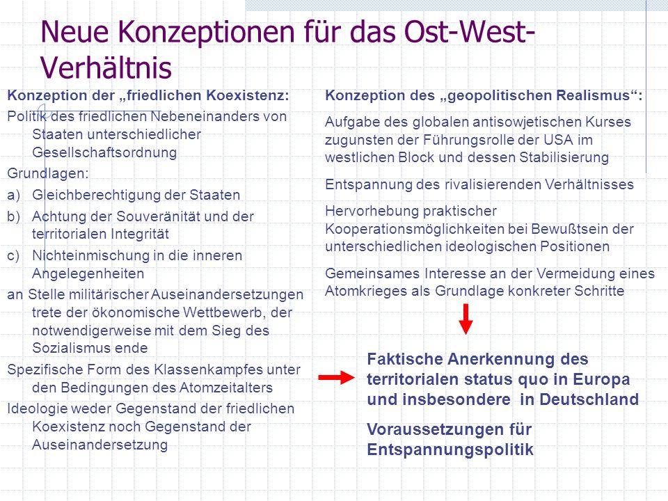 Neue Konzeptionen für das Ost-West- Verhältnis Konzeption der friedlichen Koexistenz: Politik des friedlichen Nebeneinanders von Staaten unterschiedli
