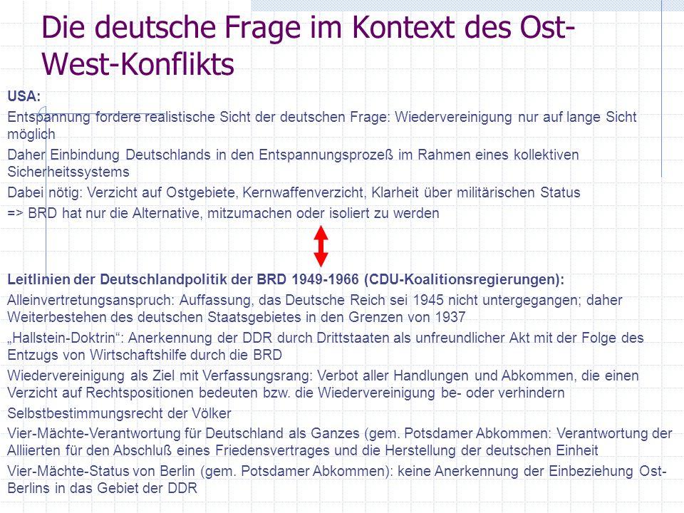 Die deutsche Frage im Kontext des Ost- West-Konflikts USA: Entspannung fordere realistische Sicht der deutschen Frage: Wiedervereinigung nur auf lange