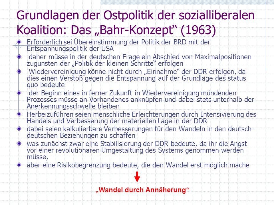 Grundlagen der Ostpolitik der sozialliberalen Koalition: Das Bahr-Konzept (1963) Erforderlich sei Übereinstimmung der Politik der BRD mit der Entspann