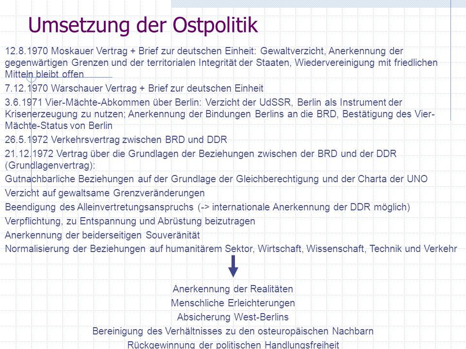 Umsetzung der Ostpolitik 12.8.1970 Moskauer Vertrag + Brief zur deutschen Einheit: Gewaltverzicht, Anerkennung der gegenwärtigen Grenzen und der terri