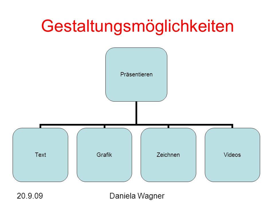 20.9.09Daniela Wagner Gestaltungsmöglichkeiten Präsentieren TextGrafikZeichnenVideos