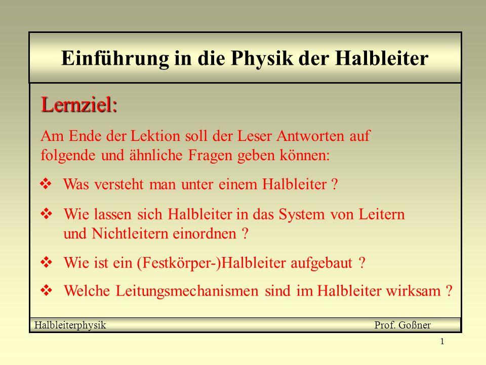 2 Einordnung der Halbleiter zwischen Leitern und Nichtleitern Halbleiterphysik Prof.