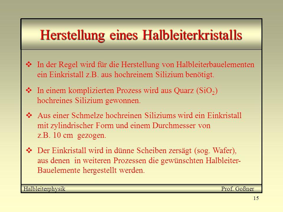15 Herstellung eines Halbleiterkristalls Halbleiterphysik Prof.