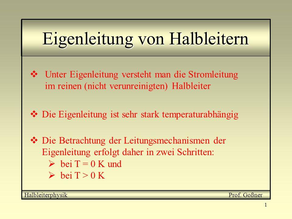 1 Eigenleitung von Halbleitern Halbleiterphysik Prof. Goßner Unter Eigenleitung versteht man die Stromleitung im reinen (nicht verunreinigten) Halblei