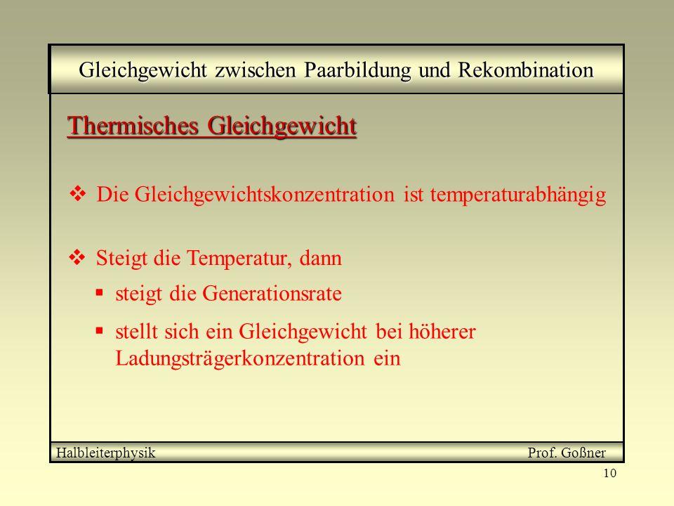 10 Gleichgewicht zwischen Paarbildung und Rekombination Halbleiterphysik Prof. Goßner Thermisches Gleichgewicht Steigt die Temperatur, dann stellt sic