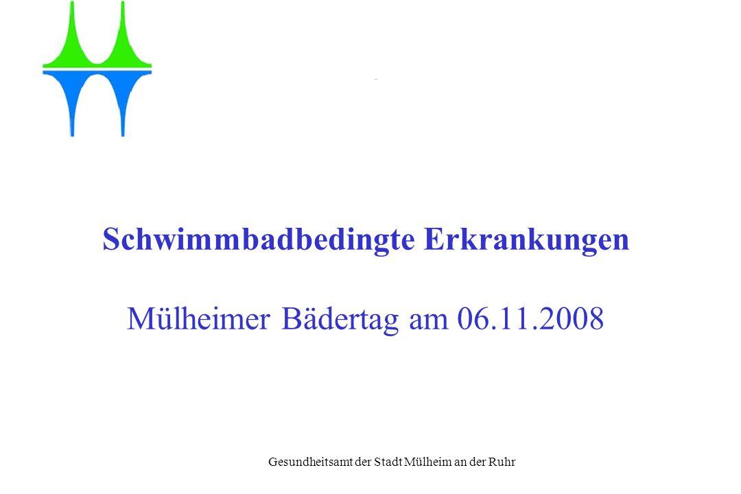 Gesundheitsamt der Stadt Mülheim an der Ruhr Übertragungswege der Infektion Einbringen der Erreger ins Badewasser Verschlucken von Badewasser (im Mittel 50 ml) Inhalieren von Aerosolen Über Kontaktflächen, Feuchtbereiche