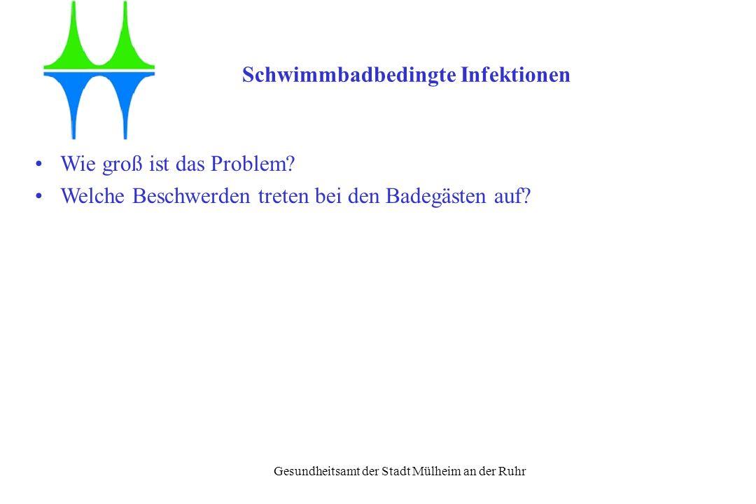Gesundheitsamt der Stadt Mülheim an der Ruhr Schwimmbadbedingte Infektionen Wie groß ist das Problem? Welche Beschwerden treten bei den Badegästen auf