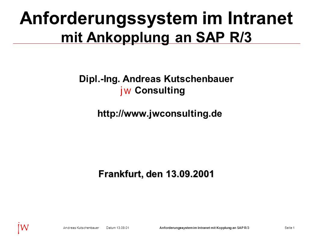 Seite 2Datum 13.09.01Andreas KutschenbauerAnforderungssystem im Intranet mit Kopplung an SAP R/3 jw Anforderungssystem im Intranet mit Ankopplung an SAP R/3 Definition Anforderung: Interne Bestellung von Materialien und Dienstleistungen, z.B.