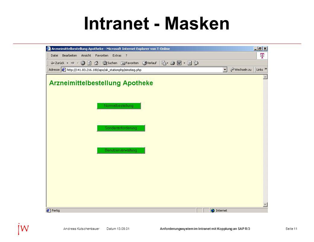 Seite 11Datum 13.09.01Andreas KutschenbauerAnforderungssystem im Intranet mit Kopplung an SAP R/3 jw Intranet - Masken
