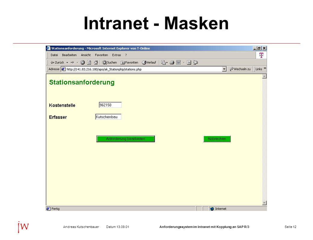 Seite 12Datum 13.09.01Andreas KutschenbauerAnforderungssystem im Intranet mit Kopplung an SAP R/3 jw Intranet - Masken