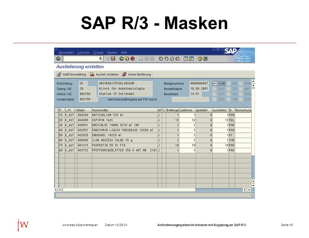 Seite 19Datum 13.09.01Andreas KutschenbauerAnforderungssystem im Intranet mit Kopplung an SAP R/3 jw SAP R/3 - Masken