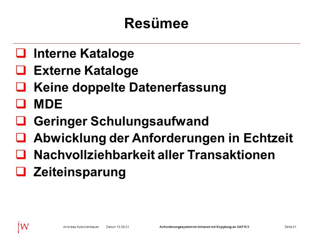 Seite 21Datum 13.09.01Andreas KutschenbauerAnforderungssystem im Intranet mit Kopplung an SAP R/3 jw Resümee Interne Kataloge Externe Kataloge Keine d