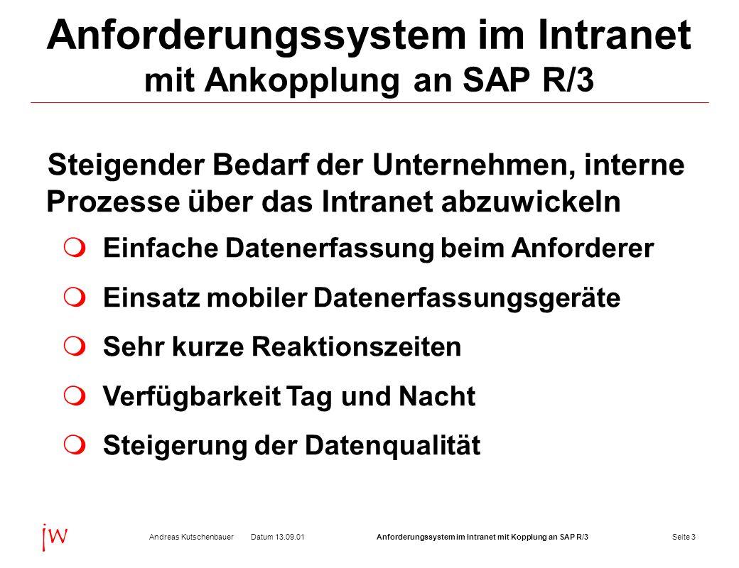 Seite 4Datum 13.09.01Andreas KutschenbauerAnforderungssystem im Intranet mit Kopplung an SAP R/3 jw Anforderungssystem im Intranet mit Ankopplung an SAP R/3 Komplette Verarbeitungslogik und Datenhaltung liegt auf dem Intranet-Server Standard-Browser als Client Vorteile: Geringer Administrationsaufwand Geringe Lizenzkosten Geringer Schulungsaufwand