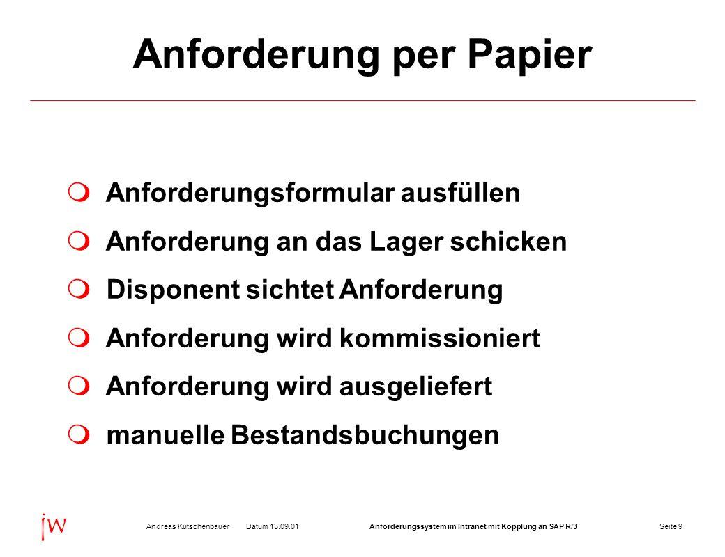 Seite 9Datum 13.09.01Andreas KutschenbauerAnforderungssystem im Intranet mit Kopplung an SAP R/3 jw Anforderung per Papier Anforderungsformular ausfül