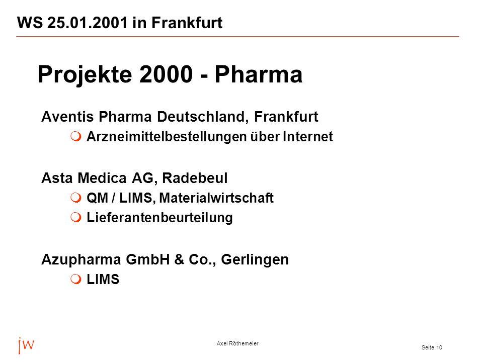 jw Axel Röthemeier Seite 10 WS 25.01.2001 in Frankfurt Aventis Pharma Deutschland, Frankfurt Arzneimittelbestellungen über Internet Asta Medica AG, Ra